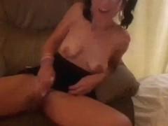 Nerdy dark brown hair wife masturbates while watching her favourite porn