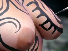 Body Painted Naked Public Show