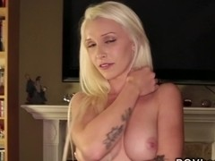 Tattooed blonde babe cunt banged pov on the floor