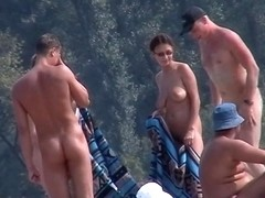 Beach hunter voyeurs nudist people on the hot camping