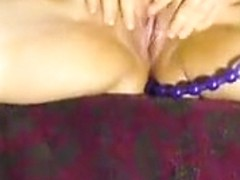 My fat wife plays with anal beads in homemade solo video