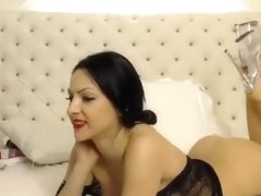 Brunette HornyAnastasya lying on the bed