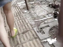 Chinese girl upskirt on the street part 1