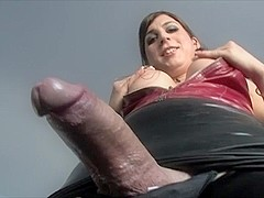 Shemale hotties Aly Sinclair and Hazel Tucker share one cock