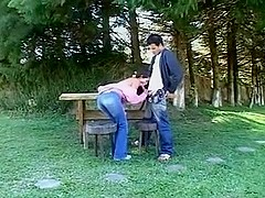 Petite Student fucks her friend in Woods