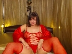 sexy chubby hairy brunette in red and blue high heels