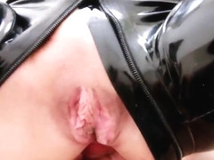 Latex slut fucked mouthgag cum piss