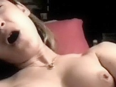 Non-Professional sexually lascivious girlfriend happily playing with a fake wang