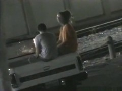 Voyeur captures a girl getting missionary fucked in the back of a truck of a parking lot