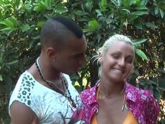 Margo & Aspen & Jocelyn in slut gives nice blowjob in an outdoor sex scene