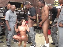 Interracial slut bukkake