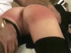 Naughty maid gets some booty spanking