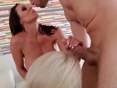 Kendra Lust and Nina Elle lick pussy and dick in hot threeway action