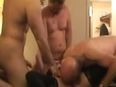 Younger wife sex orgy with a group of men in hotel room