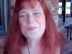 Mature takes facial at restaurant