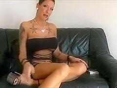 Amazing milf with big tits puts a cigarette in her cunt