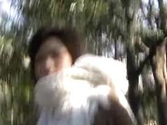 Asian gal has her panties pulled down during skirt sharking.