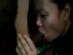 Thai angel blowing dark penis
