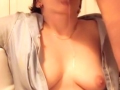 breasty angel acquires throat screwed