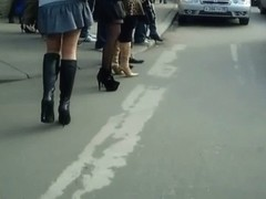 Amazing upskirt look on a tight ass of fantastic and hot girl