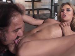 Fabulous pornstars Ron Jeremy, Sophia Lynn in Amazing Blonde, Cunnilingus adult movie