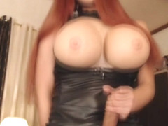 Shemale with Huge Titties Stripteases and Masturbates