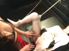 Bound Pussy TS Venus Lux Fucks A tied up Pussy Cums Twice All over Her