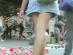 Velvety ass cheeks under a tourists light blue skirt porno upskirt