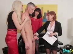Clothed brit mistresses suck