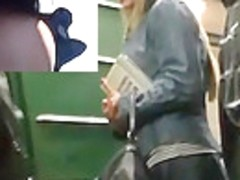 Blond subway beauty flashed her upskirt