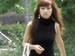 Asian babe in a cute dress mercilessly skirt sharked.