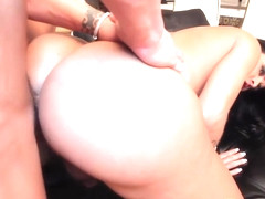 Inked tgirl licks balls after getting plowed