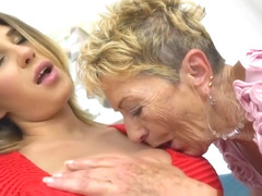 Busty Granny Dyke Pleasing Young Beauty