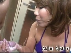 Akiho Nishimura takes good care of a big dick