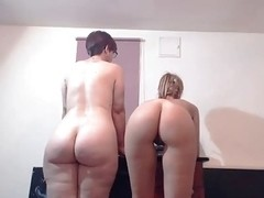 PAWG geek shakes her large gazoo with hawt slender ally