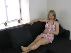 Dirty blond showing off her new stockings