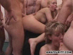 Amateur girlfriend gangbang with huge cum loads