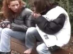 Public pissing on a park bench