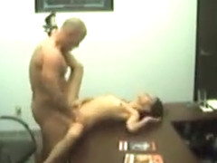 Petite girlfriend visits her man at work