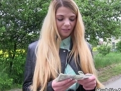 Huge clit Euro blonde fucks outdoor pov