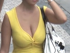 Bouncing BOOBS On Street