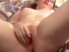 Small Titted Girl Rubs Her Wet Clit