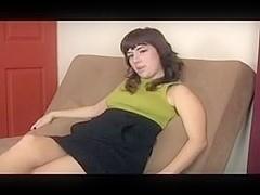 Brunette masturbates and shows hairy legs