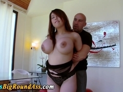 Asian babe with huge jugs tugs