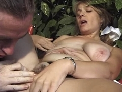 Busty brunette MILF French doctor fucking a patient