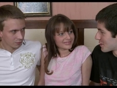 Cute teen crammed in the fanny by two guys