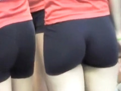 Athletic girls on the volleyball court