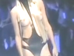 Stunning catwalk models unveil perky tits at a fashion show