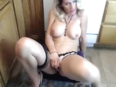 big tits blonde rubs wet panties