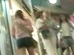 Voyur porno of two hot ladies in mini skirts you just want to grope